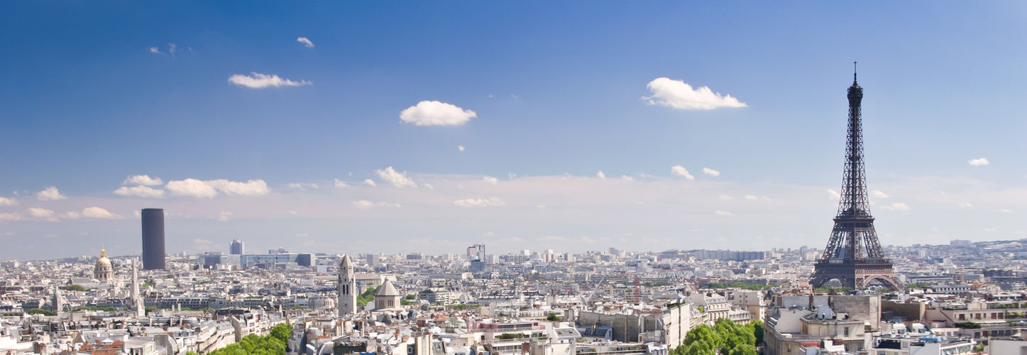 View on Paris from Arc de Triomphe. Eiffel tower on right, Avenue D´Iena and Tour Montparnasse on the left in background.